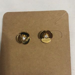 Kate Spade gold and crystal flower stud earrings